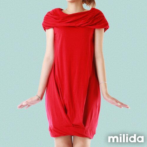 【Milida,全店七折免運】-夏季尾聲-素色款-一字領花苞洋裝 2