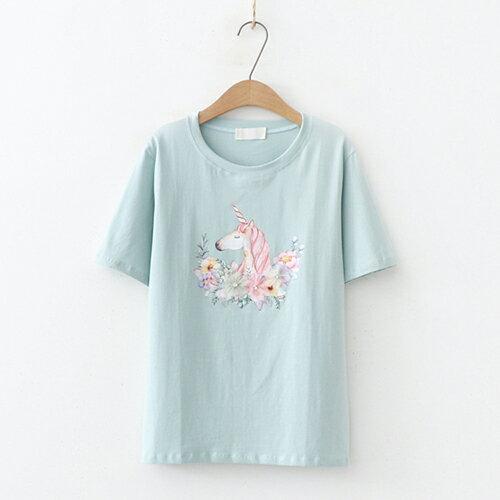 *ORead*日系森女圓領印花短袖T恤(3色F碼) 2