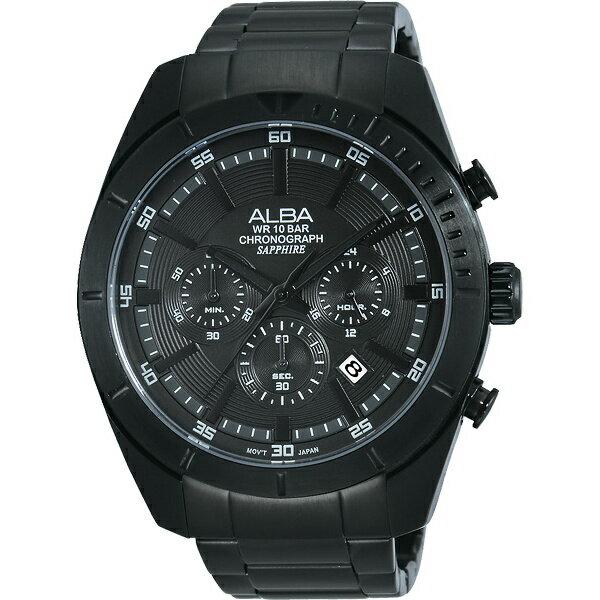 ALBA VD53-X150SD(AT3599X1)魅力極黑色計時腕錶/黑面45mm