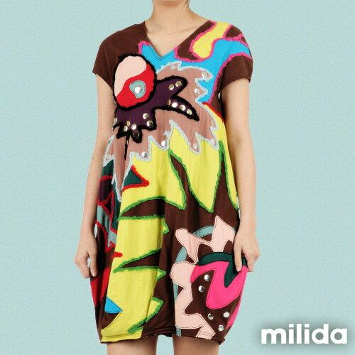 【Milida,全店七折免運】-夏季商品-拼貼款-毛線拼貼洋裝 1