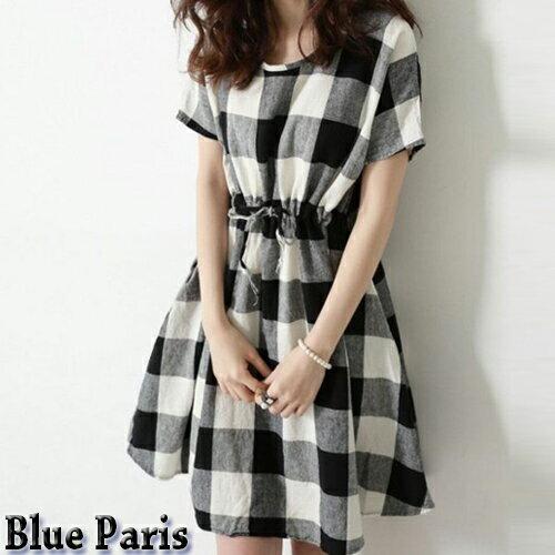 洋裝 ~ 小清新格子棉麻連身裙  綁帶洋裝~28029~  ~ Blue Paris