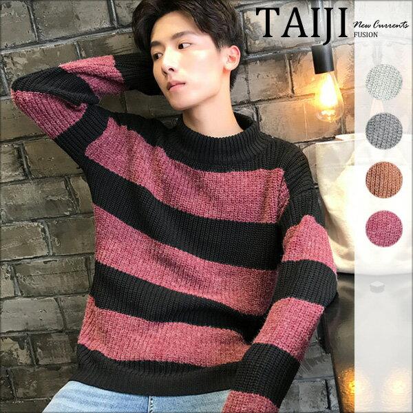 條紋針織衫‧雙色條紋圓領針織毛衣‧四色【NTJC37253】-TAIJI-