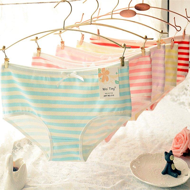 新款條紋海軍風蝴蝶結可愛女式內褲中腰純棉內褲 多色 T510-1