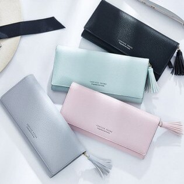 長款韓版時尚流蘇多卡位大容量錢包手拿包【包包阿者西】