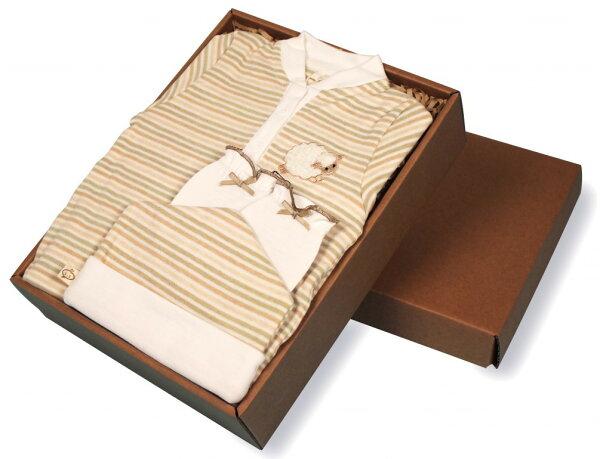 三色橫紋立領連身衣禮盒