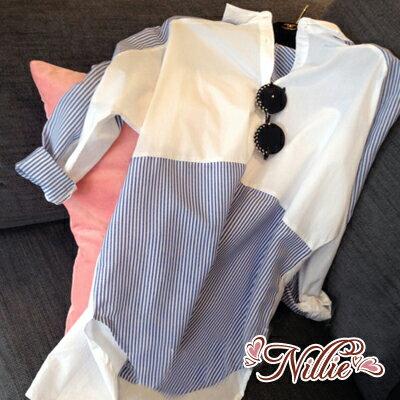 Nillie.條紋撞色拼接休閒襯衫(藍)  12/22【N88064】現+預