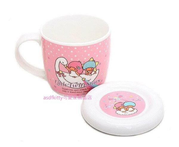 asdfkitty可愛家精品店:asdfkitty可愛家☆雙子星天鵝有蓋陶瓷馬克杯-韓國製