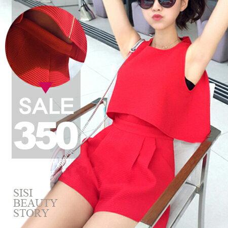 SISI【J6012】優雅微醺圓領無袖修身縮腰顯瘦連身短褲無袖背心連體褲