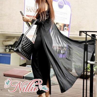 Nillie‧網紗拼接背後透視長版開襟罩衫(黑/白/藍) 03/01【N90052】現+預