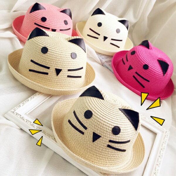 PSMall百搭可愛貓咪兒童草帽【B002】