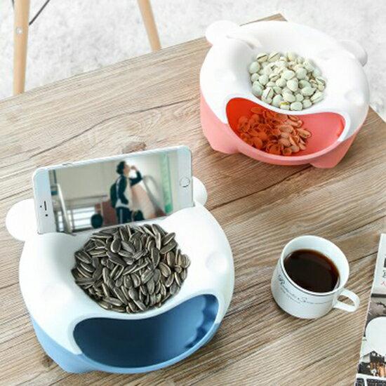 ♚MYCOLOR♚雙層可置物乾果盤過年客廳塑料懶人手機座瓜子盤嗑瓜子神器乾果盒【N405】
