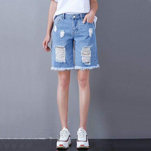 *ORead*韓版寬鬆高腰顯瘦5五分褲(藍色26~32)