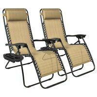 Best Choice Products Set of 2 Zero Gravity Chairs w/ Cup Holders - Tan