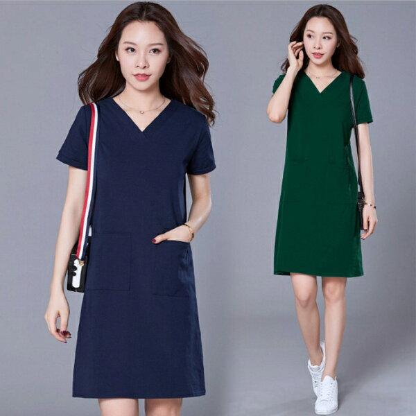 糖衣子輕鬆購【GH1162】韓版時尚百搭修身顯瘦V領長版上衣
