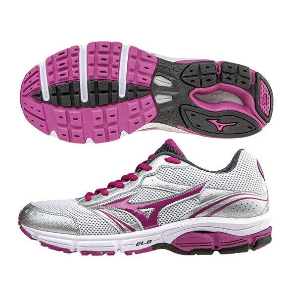 WAVE IMPETUS 2 (W) 一般型女慢跑鞋 J1GF151369(白*紫紅)A【美津濃MIZUNO】