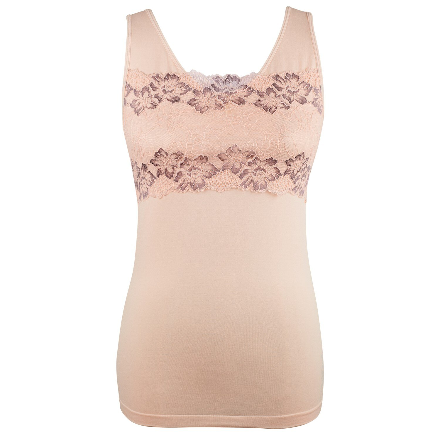 dcbf2d6837 Ahh By Rhonda Shear Women s Lace Overlay Seamless Shaping Tank with Shelf  Bra - Pink