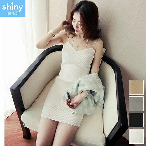 【V2336】shiny藍格子-清涼性感.純色修身包臀細肩掛脖連身裙
