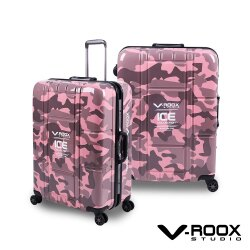 V-ROOX ICE 25吋 不敗迷彩時尚行李箱 硬殼鋁框旅行箱-迷彩粉紅
