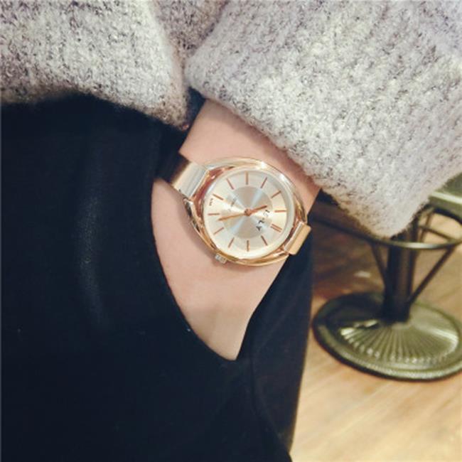 50%OFF【H019053WAH】韓版潮流時尚手錶歐美潮牌氣質金色土豪金細錶帶鋼帶大盤女表學生 - 限時優惠好康折扣