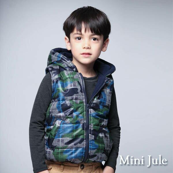 Azio Kids美國派:《MiniJule童裝》鋪棉背心搖粒絨幾何格紋連帽背心(綠)
