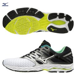 WAVE SHADOW 2 一般型男款慢跑鞋 J1GC183016(白X黑X水藍)隨機送豆豆鞋帶【美津濃MIZUNO】