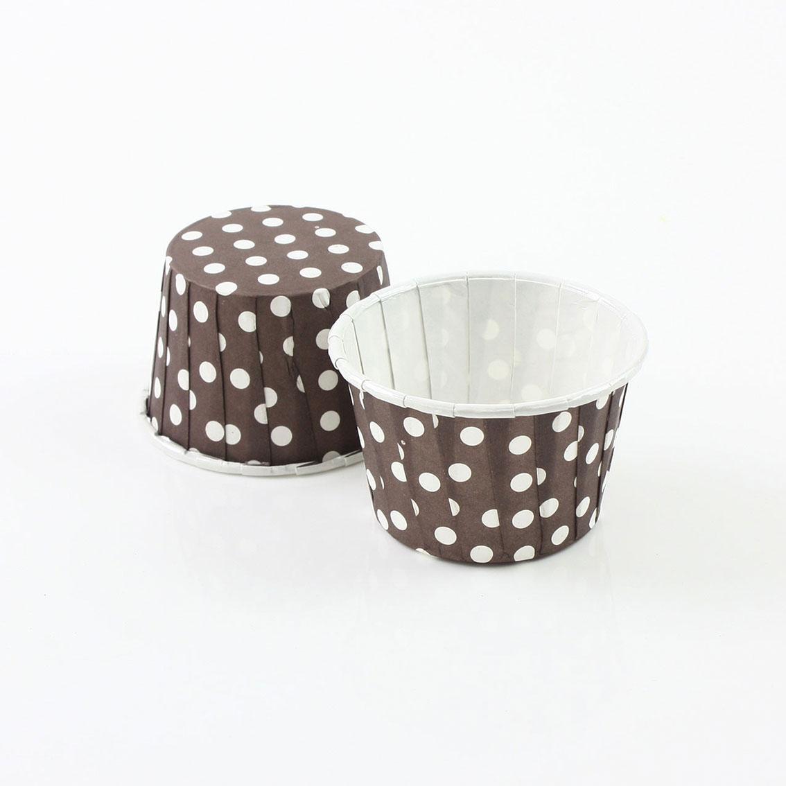 瑪芬杯、杯子蛋糕、捲口杯 PET4435-04 圓點咖啡(100pcs/包)