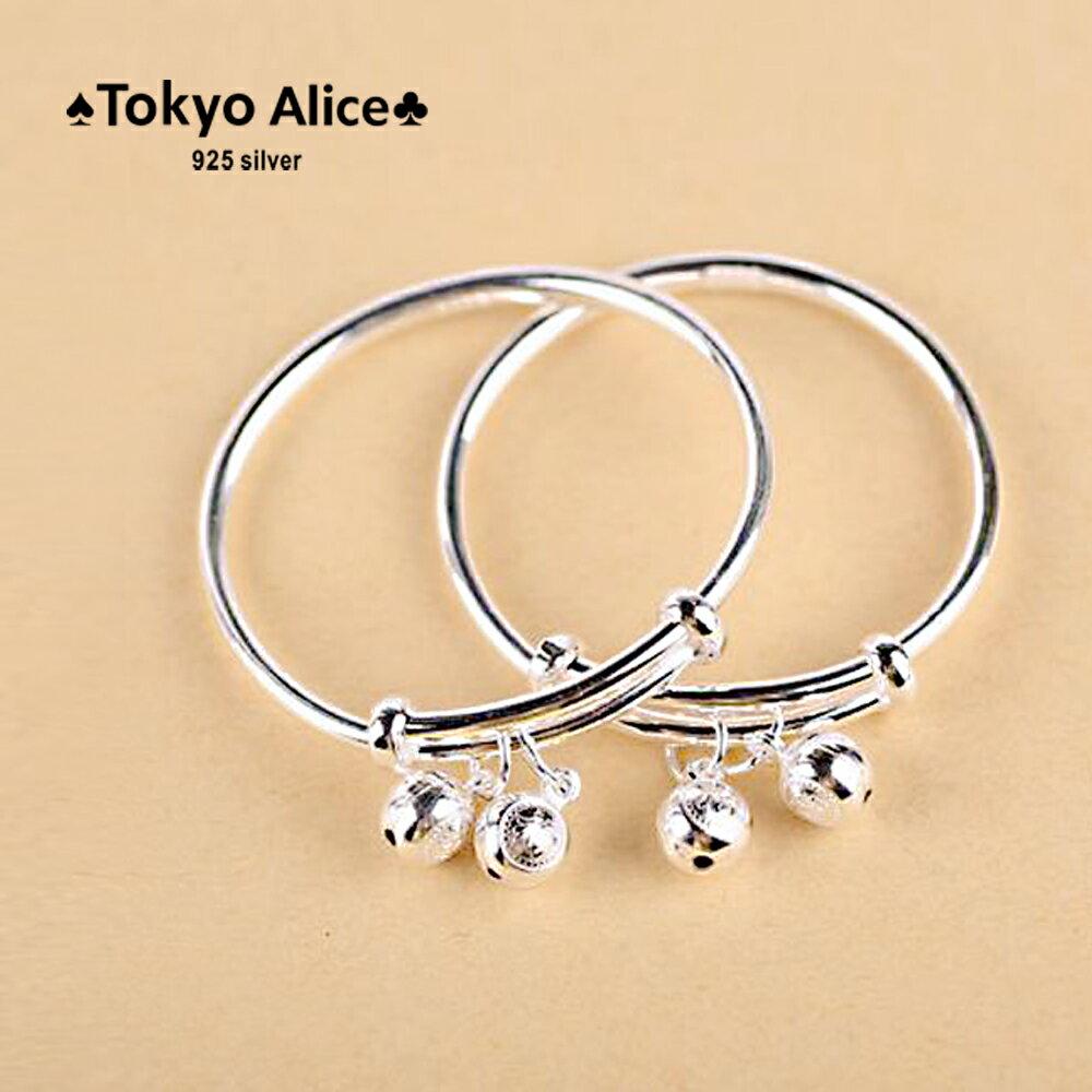 Tokyo Alice 925純銀福氣雙鈴噹寶寶手鐲(一對),滿月禮彌月禮成長禮物寶貝手鍊飾品首飾銀飾甜美鎖骨鏈(sh0000035)