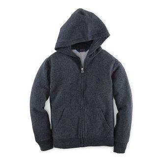 美國百分百【Ralph Lauren】RL 連帽 薄外套 棉質 帽T 夾克 POLO 藍灰 XS S號 B038