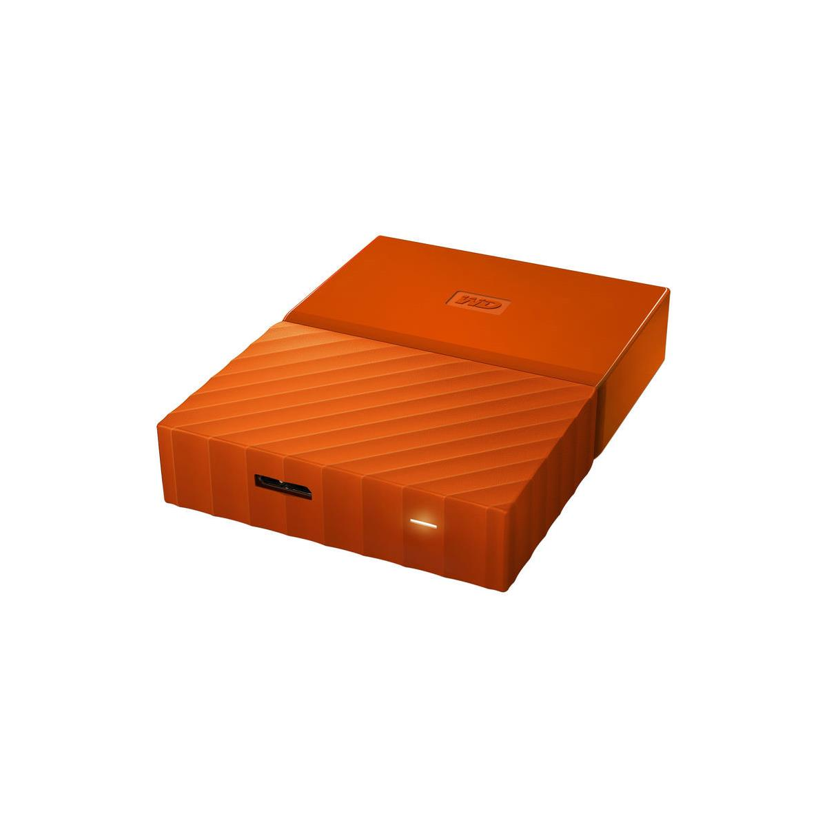 WD My Passport WDBYFT0040BOR-WESN 4 TB External Hard Drive - USB 3.0 - Portable - Orange - 256-bit Encryption Standard 1
