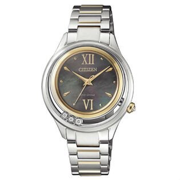 CITIZEN星辰錶EM0518-86YL系列頂級真鑽光動能腕錶珍珠母貝面33mm