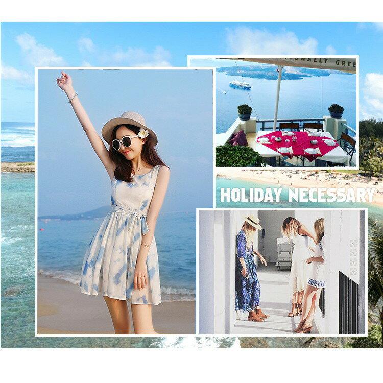 韓版時尚潮流xs夏無袖雪紡洋裝波西米亞海邊沙灘裙小個子女裝顯高店150cmLB13977《小蘿莉》 5