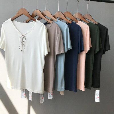 女裝銅氨絲基本款純色V領短袖T恤樂天時尚館。預購。[全店免運]
