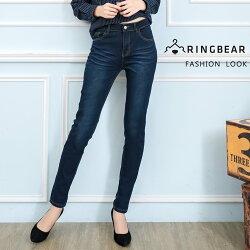 鉛筆褲--簡約時尚裝飾壓線復古壓釦精緻眼鏡刺繡經典窄管褲(藍M-3L)-C98眼圈熊中大尺碼