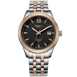 Rhythm 日本麗聲鐘時針 簡約流行自動機械腕錶 (AS1611S10) 玫瑰金x銀x黑 / 35mm