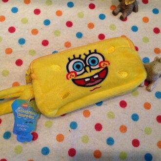 =優生活=【現貨出清】海綿寶寶雙層毛料拉鍊刺繡零錢包 收納包 卡包 手機包