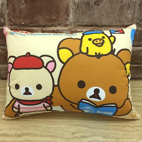 【真愛日本】17040300012 童枕-拉拉熊巴黎之旅 SAN-X 懶熊 奶熊 拉拉熊 枕頭 靠枕 靠墊