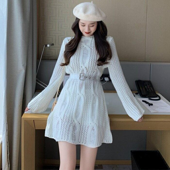長袖洋裝 韓版女裝新款chic鏤空氣質性感顯瘦中長款長袖針織毛衣洋裝短裙 夏洛特居家名品