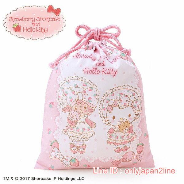 【真愛日本】4901610520857 聯名限定SSCKT束口袋M   三麗鷗 Hello Kitty 凱蒂貓   提袋  收納包  束口袋