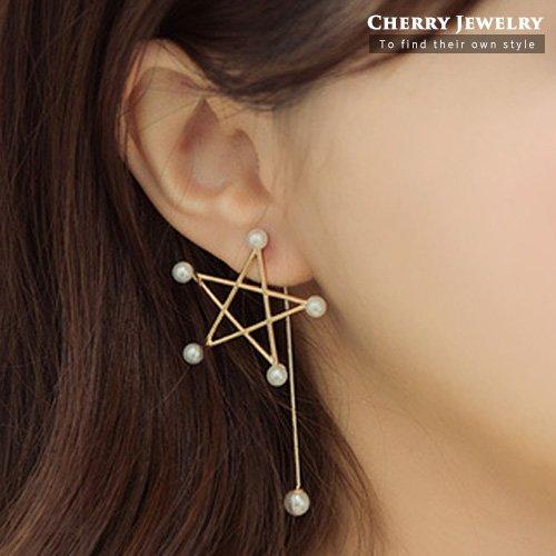 五角星不對稱造型耳環10288【櫻桃飾品】【10288】