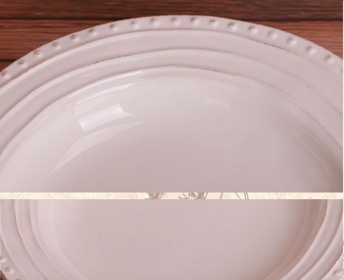 歐式鄉村做舊不規則圓形陶瓷盤子 西餐盤 湯盤 菜盤 零食盤 果盤