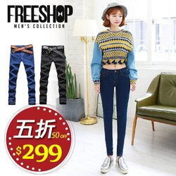 《Free Shop》女版牛仔褲 Free Shop【QFSW04】女款韓版超彈力單寧布料修身窄管高腰黑藍原色牛仔長褲 二色