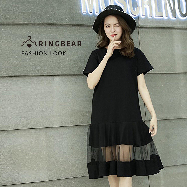 休閒洋裝--優雅時尚個性風網紗拼接荷葉裙素色圓領短袖洋裝(黑M-2L)-D512眼圈熊中大尺碼 0