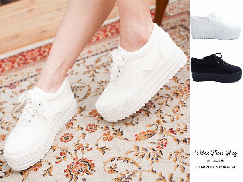 ★399免運★格子舖*【ANO21】台灣製MIT 白色系女孩 經典素色厚底增高5CM帆布鞋 鬆糕鞋 小白鞋 兩色 - 限時優惠好康折扣