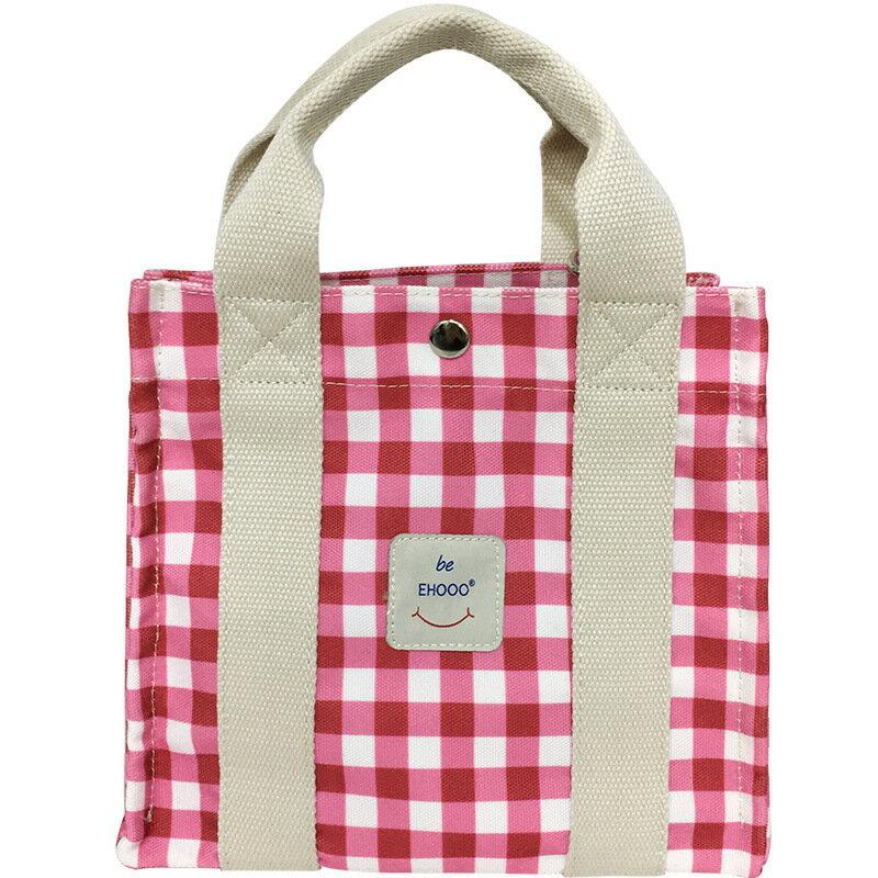 手提包帆布側背包-方型拼色格子休閒女包包6色73xb40【獨家進口】【米蘭精品】