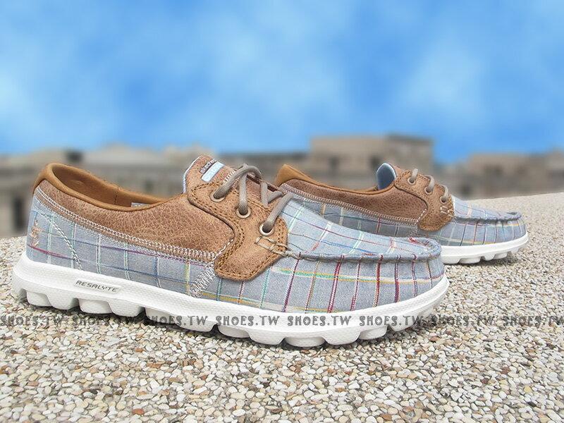 [23cm]《出清5折》Shoestw【13839BLU】SKECHERS 健走鞋 ON THE GO 瑜珈鞋墊 水藍 格線 帆船