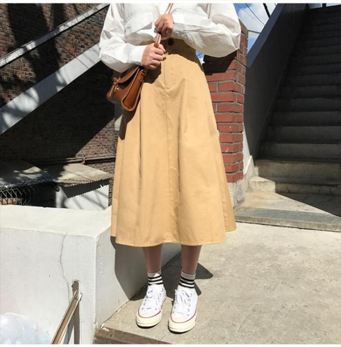 櫻田川島半身裙白色工裝裙女港風半身日系復古傘裙高腰赫本風長裙