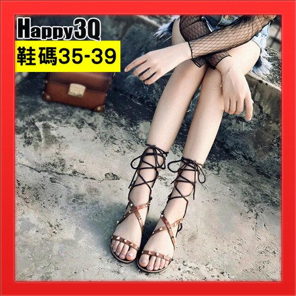 羅馬鞋波西米亞風女鞋子涼鞋中帶綁帶女鞋子夏季涼鞋女鞋-黑棕35-39【AAA4687】