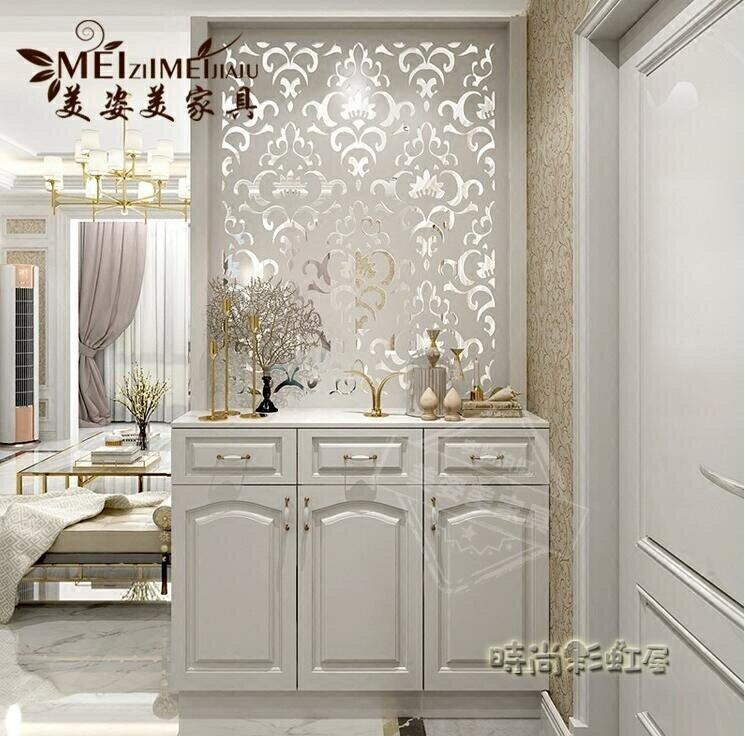 玄關隔斷櫃客廳 裝飾櫃 進門玄關櫃鞋櫃白色烤漆門廳裝飾屏風櫃MBS 父親節禮物 父親節禮物 0