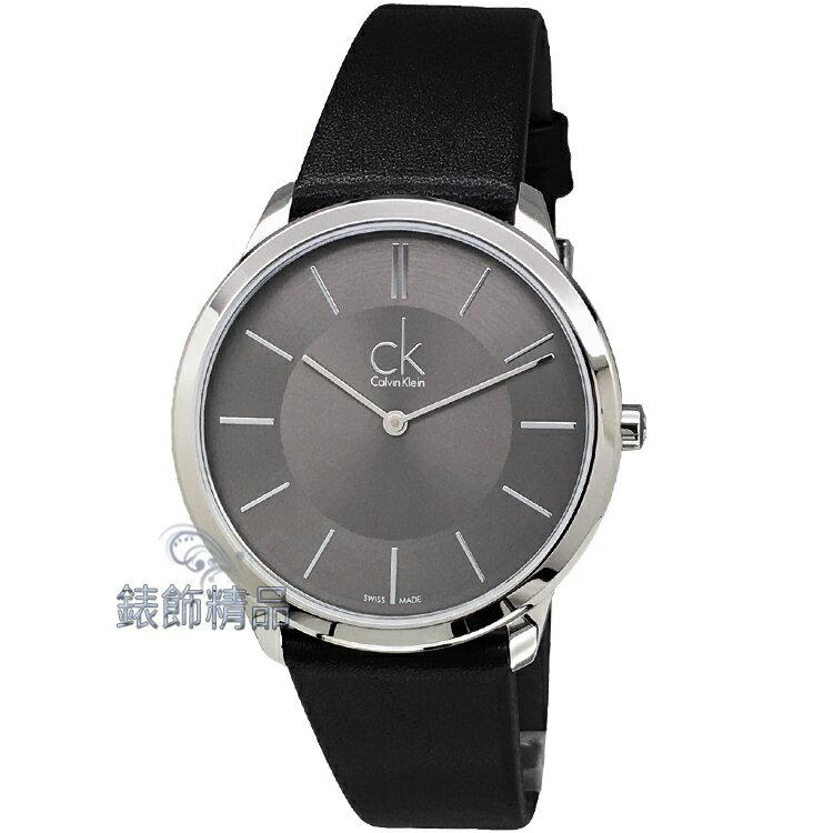 【錶飾精品】CK手錶 時尚極簡 薄型錶殼 K3M211C4 都會型男黑皮帶腕錶 全新原廠正品 情人生日禮品