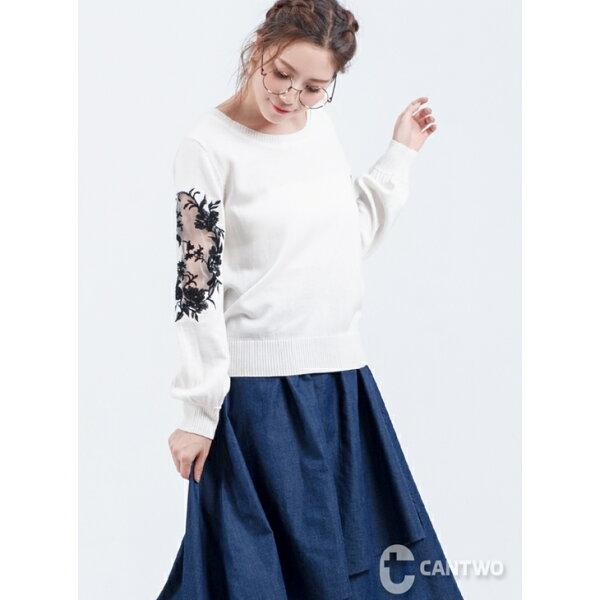 CANTWO:CANTWO鏤空刺繡拼接袖針織上衣(共二色)現貨到